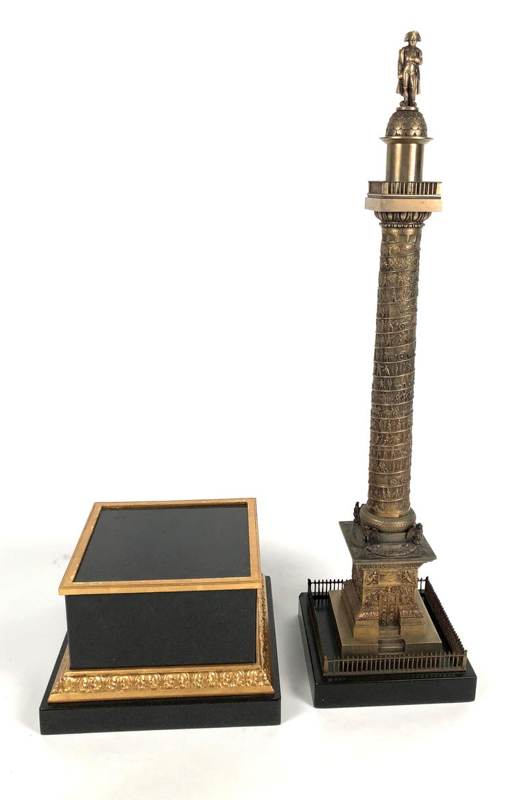 Large Grand Tour Gilt Bronze Model of the Place Vendome Napoleon Column in Paris For Sale 6