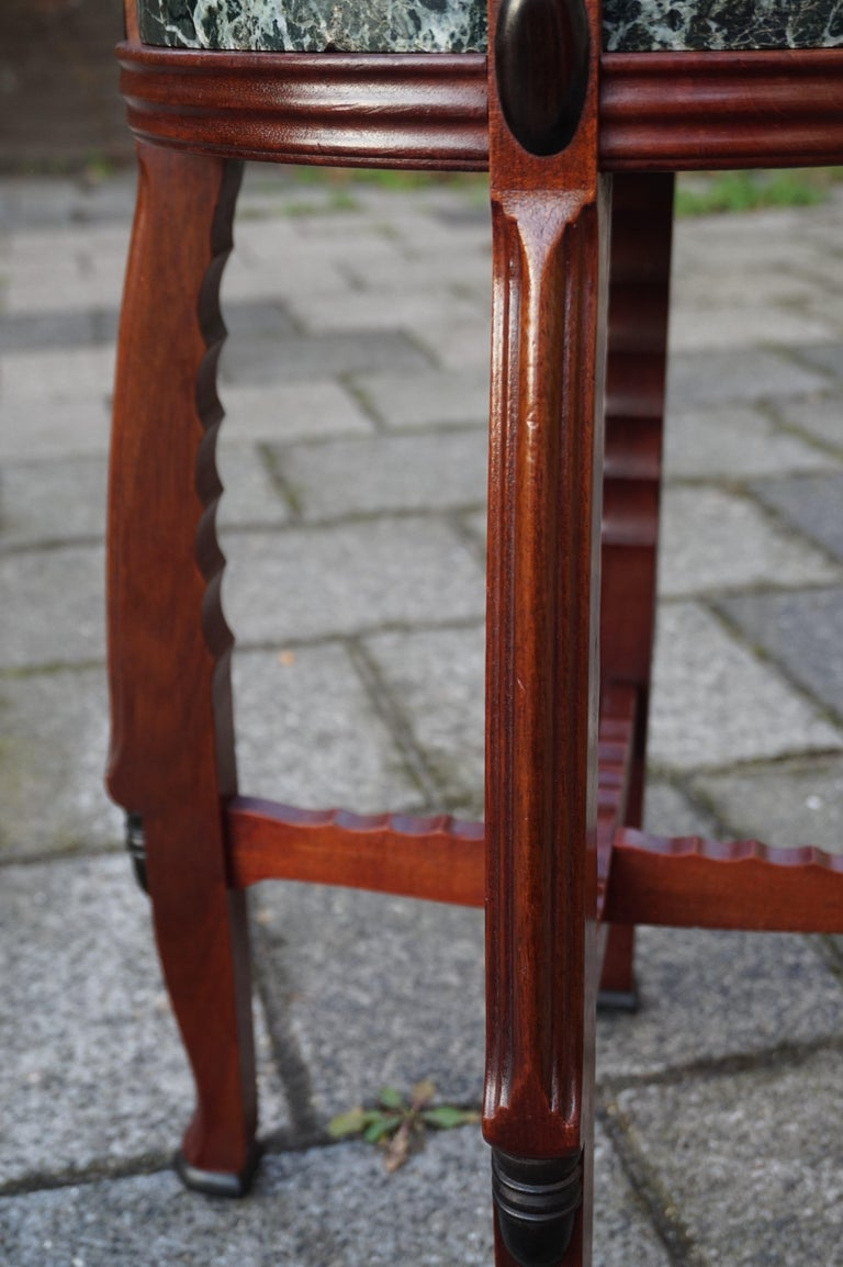 Mahogany and Marble Arts and Crafts Wine Table / Plant Stand / End Table For Sale 9