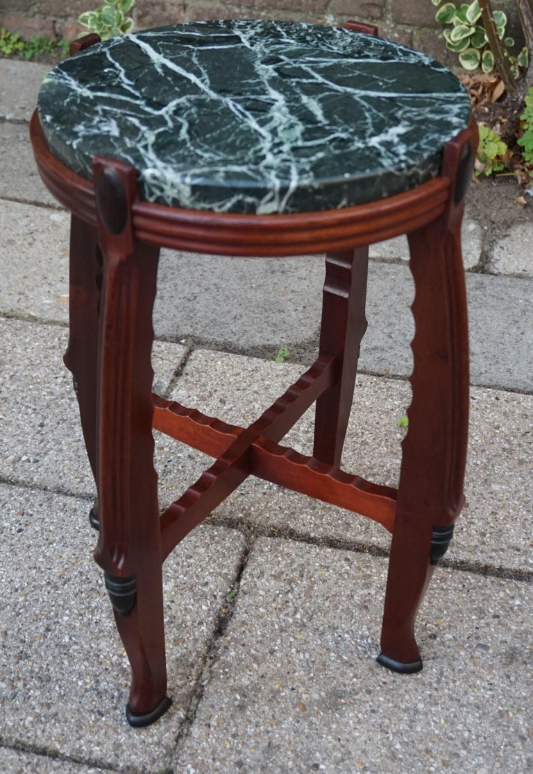 Mahogany and Marble Arts and Crafts Wine Table / Plant Stand / End Table For Sale 12
