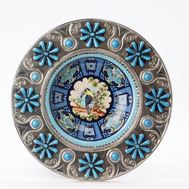 Always unique pieces is what you are going to hear about Jesus Guerrero Santo's work, all the pieces are handmade and created one by one it takes months to produce each peace. This ceramica and white metal (alpaca) bowl centrepiece, was created in