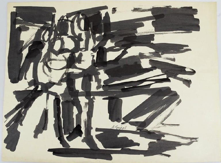 Abstract Expressionist Gestural Black & White Pen & Ink Work by Salvatore Grippi  Gorgeous early pen and ink on paper work by Salvatore Grippi.  Signed. Circa 1955-56 New York School   measures approximately 24