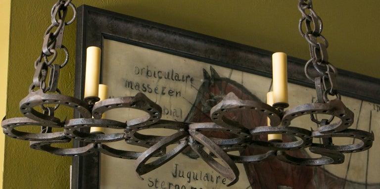 Französischer Schmiedeeisen Handgemachter Hufeisen Kronleuchter 3