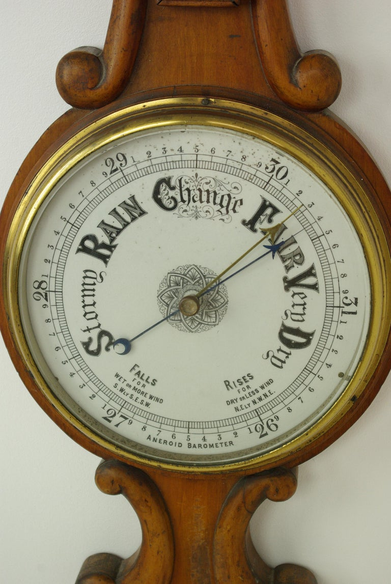 Antique Barometer, Aneroid barometer, decorative Barometer, carved walnut Barometer, Scotland, 1890, Antique Furniture, B1282A.  Scotland, 1880 Carved oak pediment top above Thermometer below Deep molded center circle into which barometer is