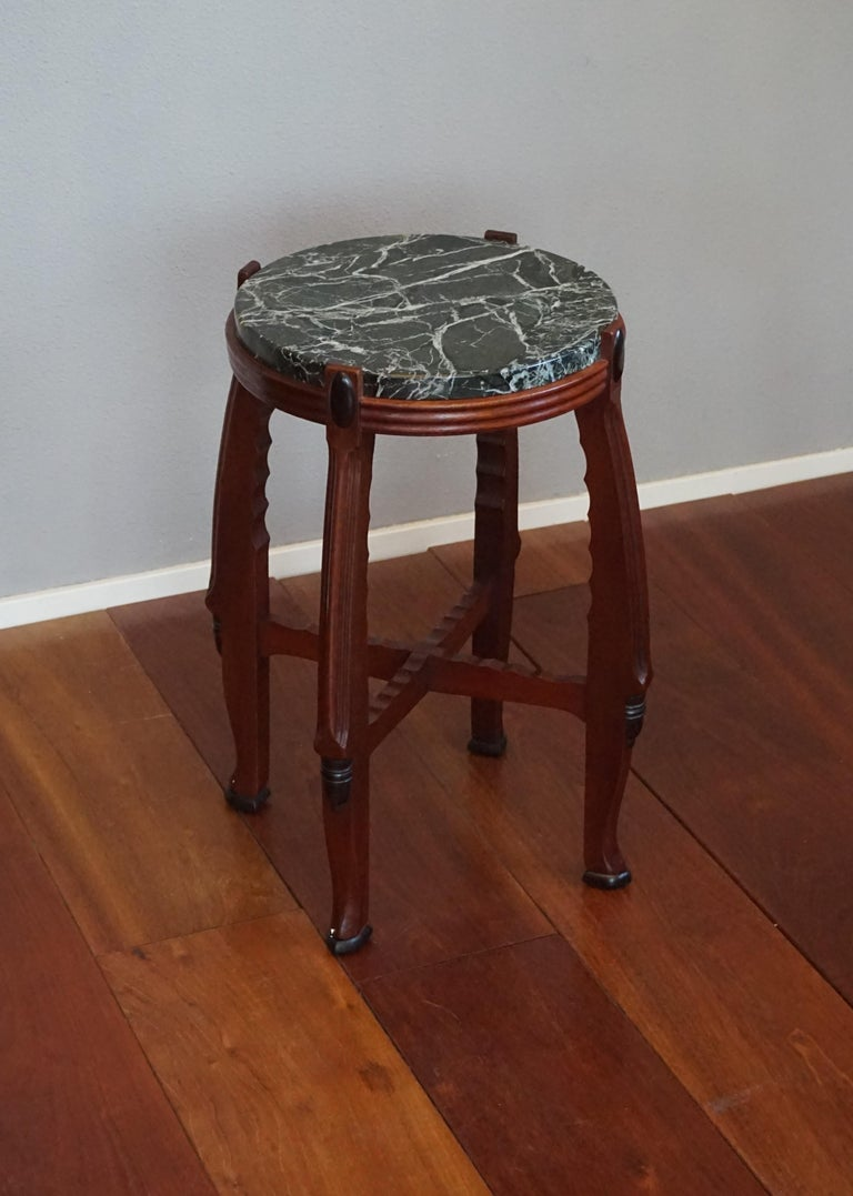 Mahogany and Marble Arts and Crafts Wine Table / Plant Stand / End Table For Sale 14