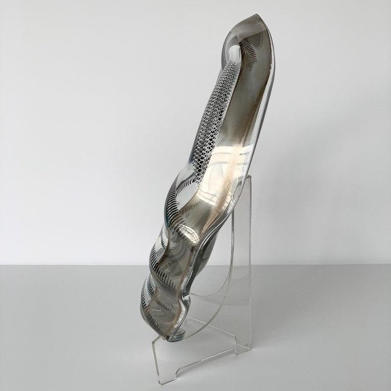 Mid-Century Modern Unique Sculptural Art Glass Low Bowl with Silver Details For Sale