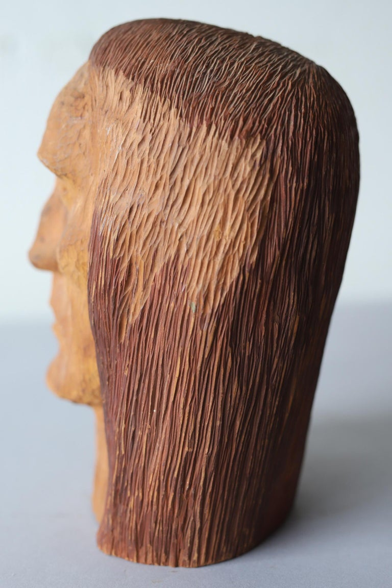 Bohemian Hand Carved Wood Head For Sale