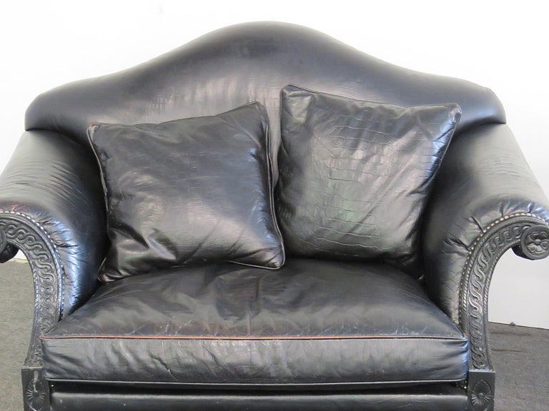 Modern Pair of Stanford Rams Head Oversized Leather Armchairs For Sale