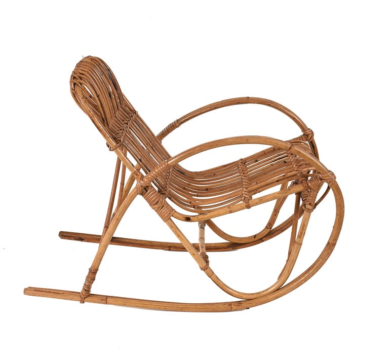 Mid-Century Modern Rattan 1950s Children's Rocking Chair, Franco Albini, Bamboo, Italy, 1950s For Sale