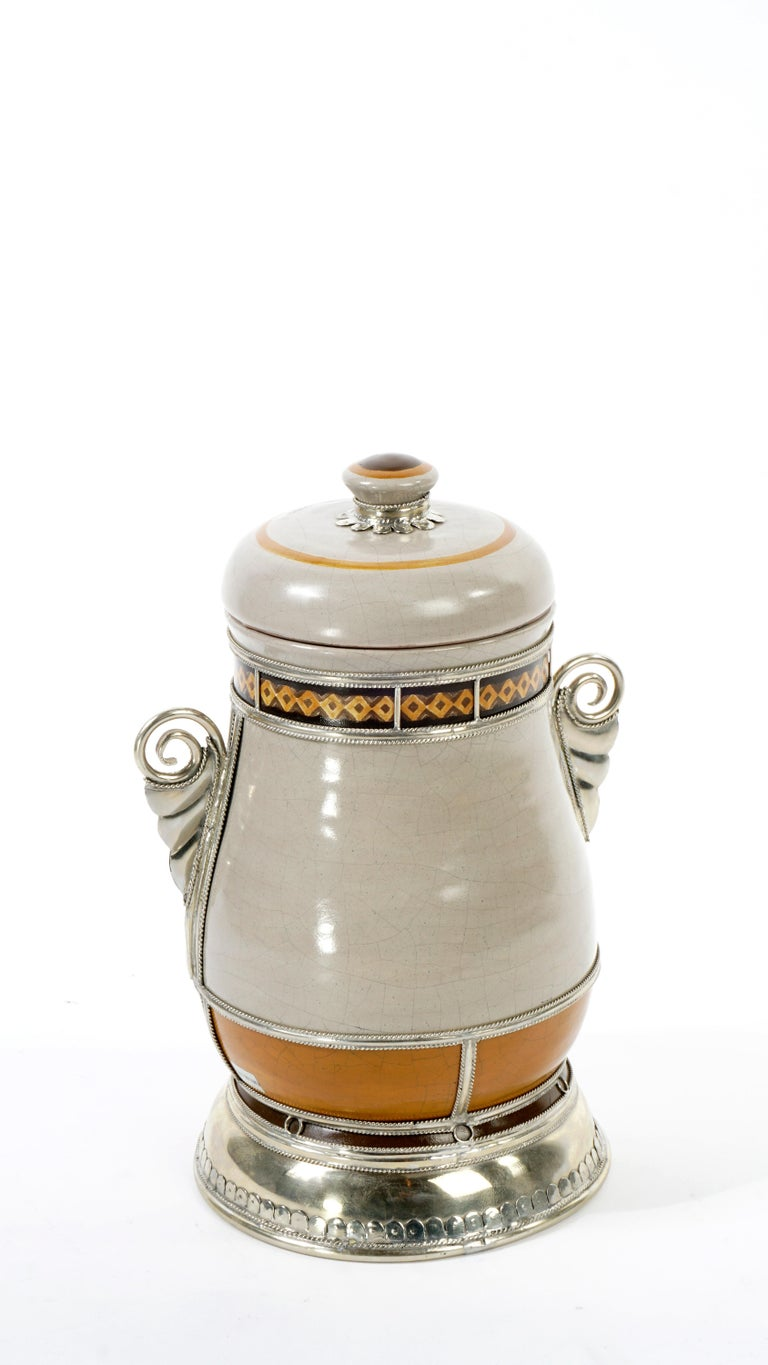 Other Handmade Galleon Jar, Ceramic and White Metal 'Alpaca', One of a Kind For Sale