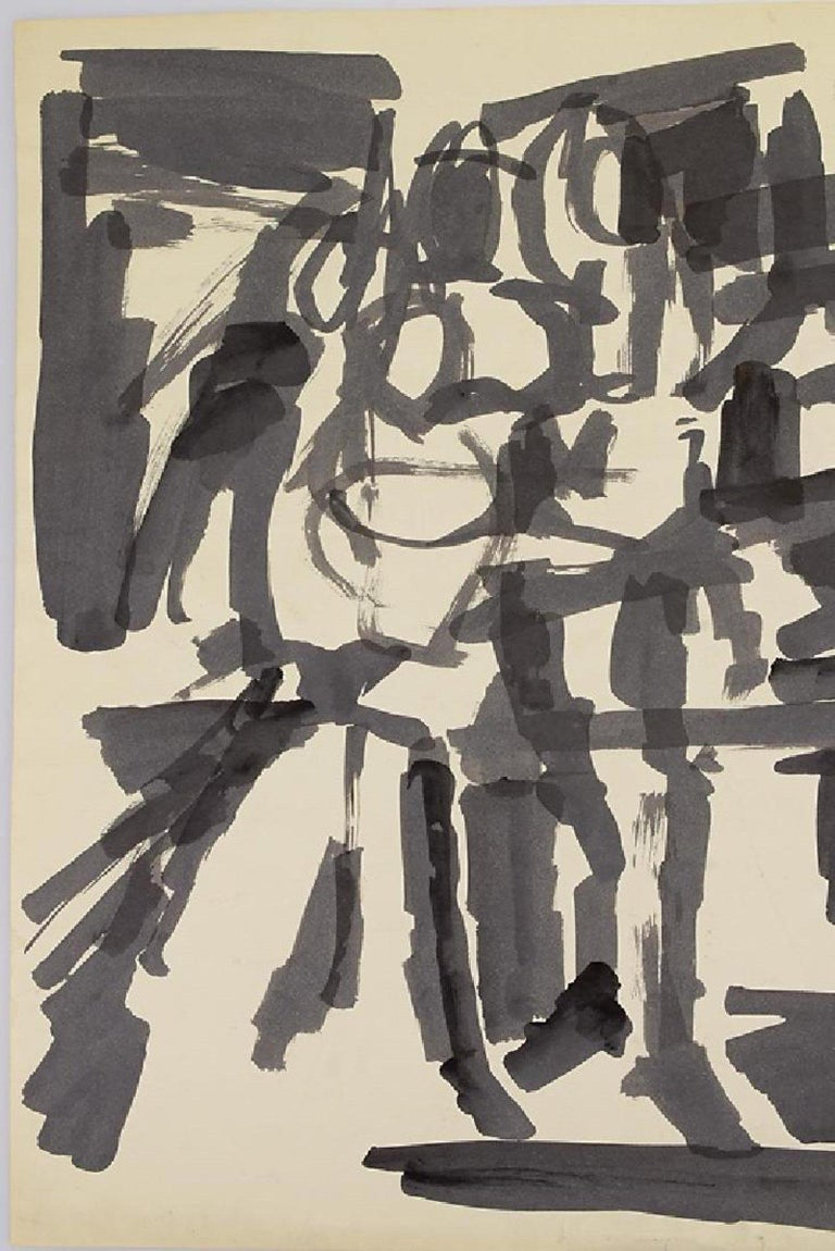 Mid-Century Modern Abstract Action Painting, Black & White Pen & Ink on paper by Salvatore Grippi For Sale