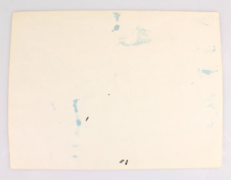 Mid-Century Modern Midcentury Abstract Expressionist Watercolor Painting, Salvatore Grippi, Blue For Sale