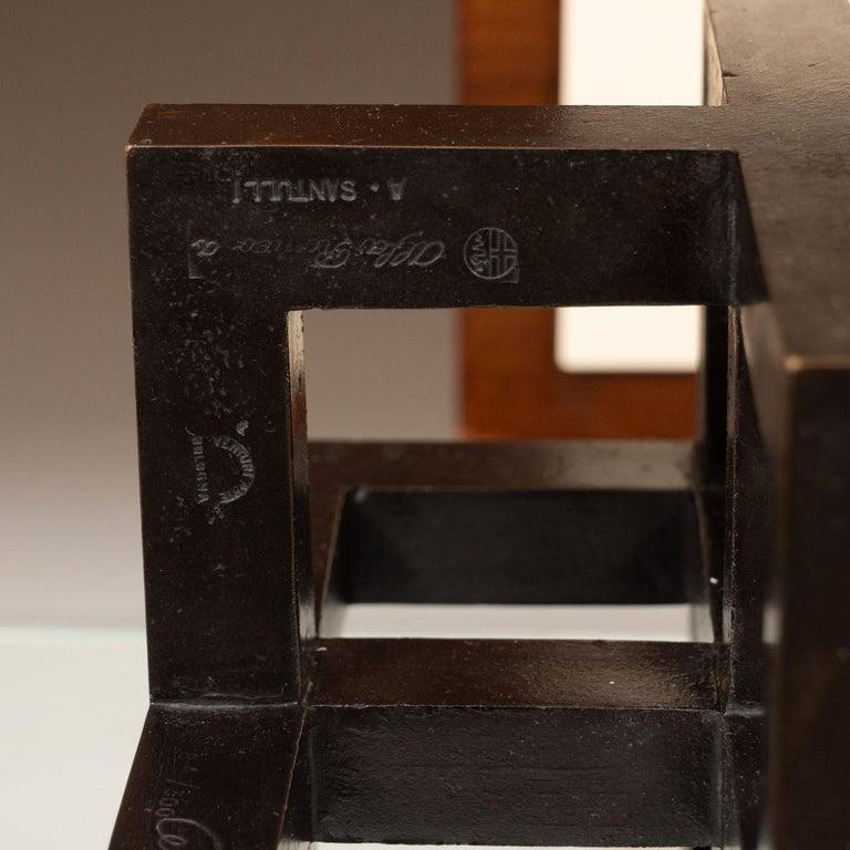 Brutalist Openwork Bronze Geometric Sculpture For Sale