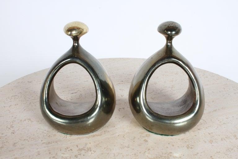 Mid-Century Modern Ben Seibel for Jenfred-Ware Brass Bookends For Sale