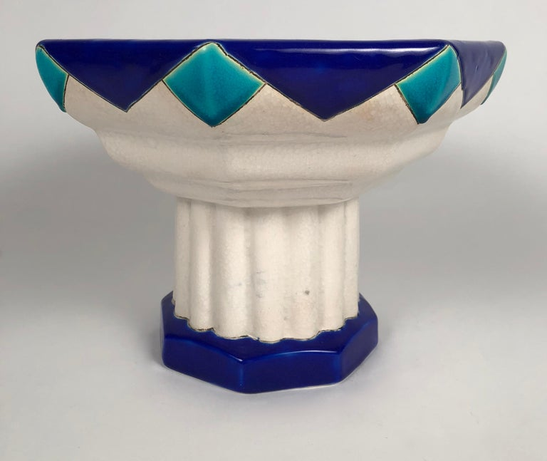 Belgian Art Deco Period Blue Turquoise and White Ceramic Footed Bowl by Boch Frères For Sale