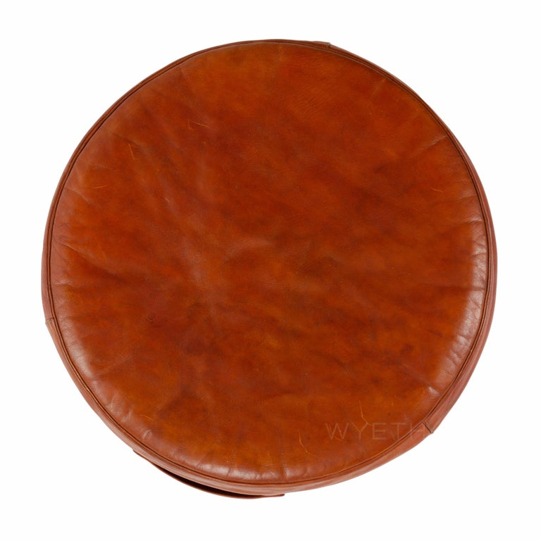 Scandinavian Modern Red Leather Stool For Sale