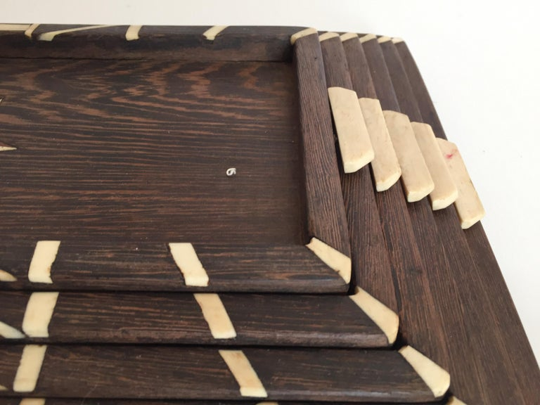 Hand-Carved Antique Anglo-Indian set of Six Staking Wood Trays with Bone Inlays For Sale