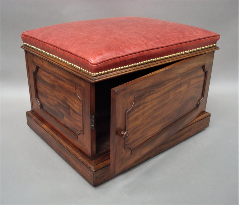 English William IV Mahogany and Leather Box Stool For Sale