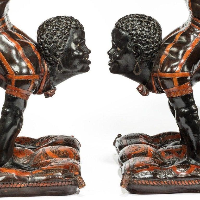Italian 19th Century Exceptional Venetian Blackamoor Side Tables For Sale