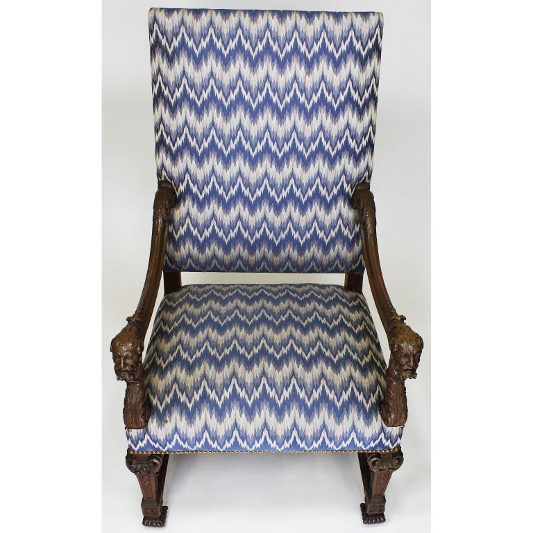 Hand-Carved Fine French 19th Century Louis XIV Style Baroque Carved Walnut Throne Armchair For Sale