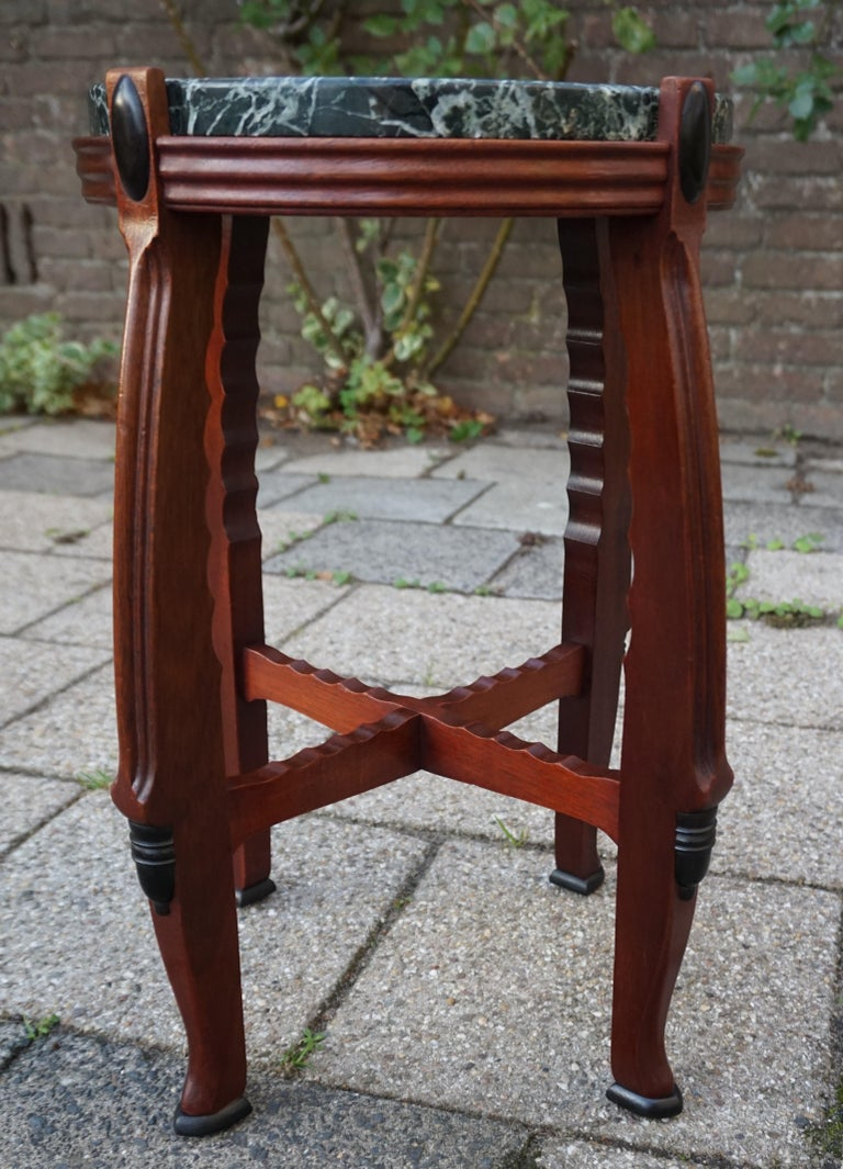 Polished Mahogany and Marble Arts and Crafts Wine Table / Plant Stand / End Table For Sale