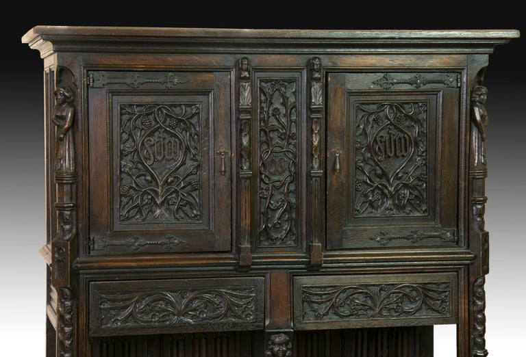 European Neogothic Cupboard, Oak, 19th Century For Sale