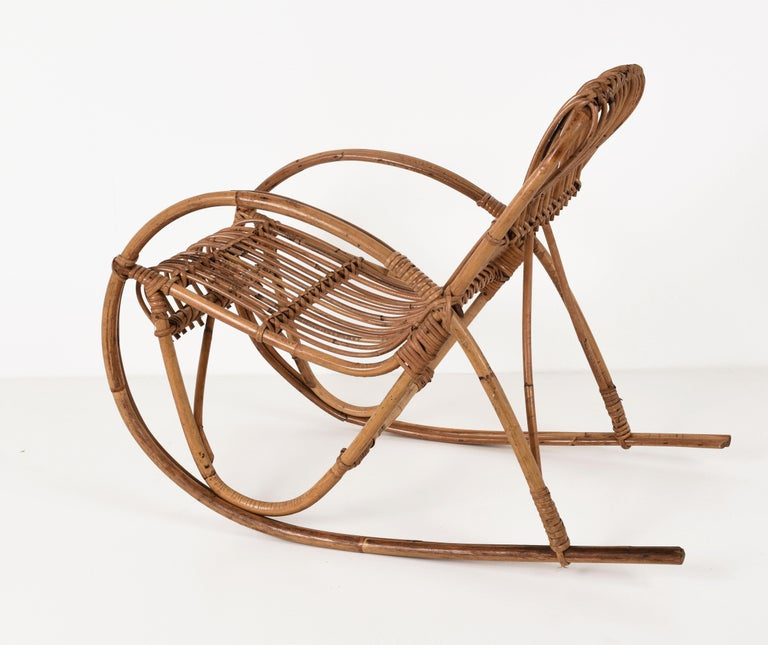 Italian Rattan 1950s Children's Rocking Chair, Franco Albini, Bamboo, Italy, 1950s For Sale