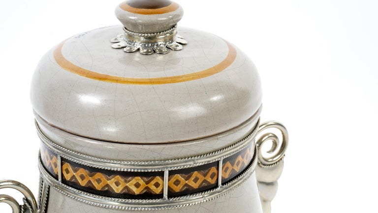 Mexican Handmade Galleon Jar, Ceramic and White Metal 'Alpaca', One of a Kind For Sale