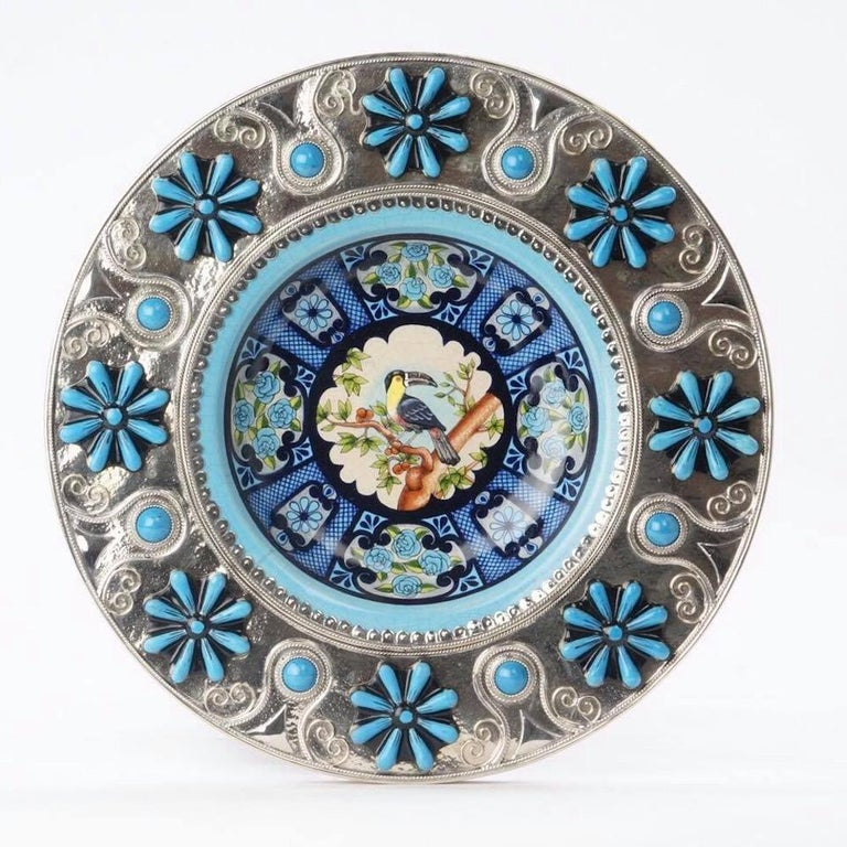 Mexican Ceramic and White Metal 'Alpaca' Toucans and Parrot Set of Plates For Sale
