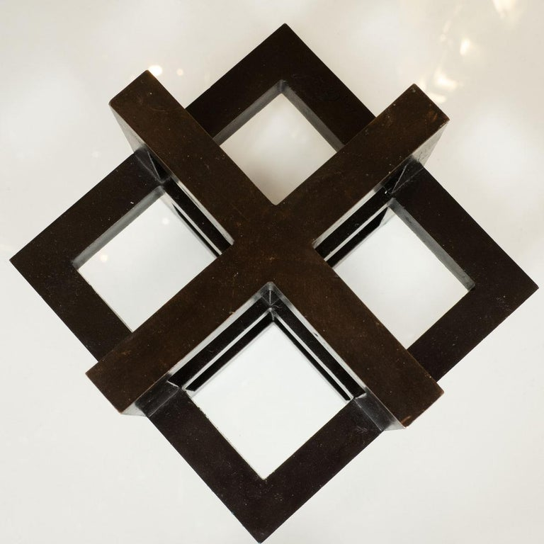 Italian Openwork Bronze Geometric Sculpture For Sale