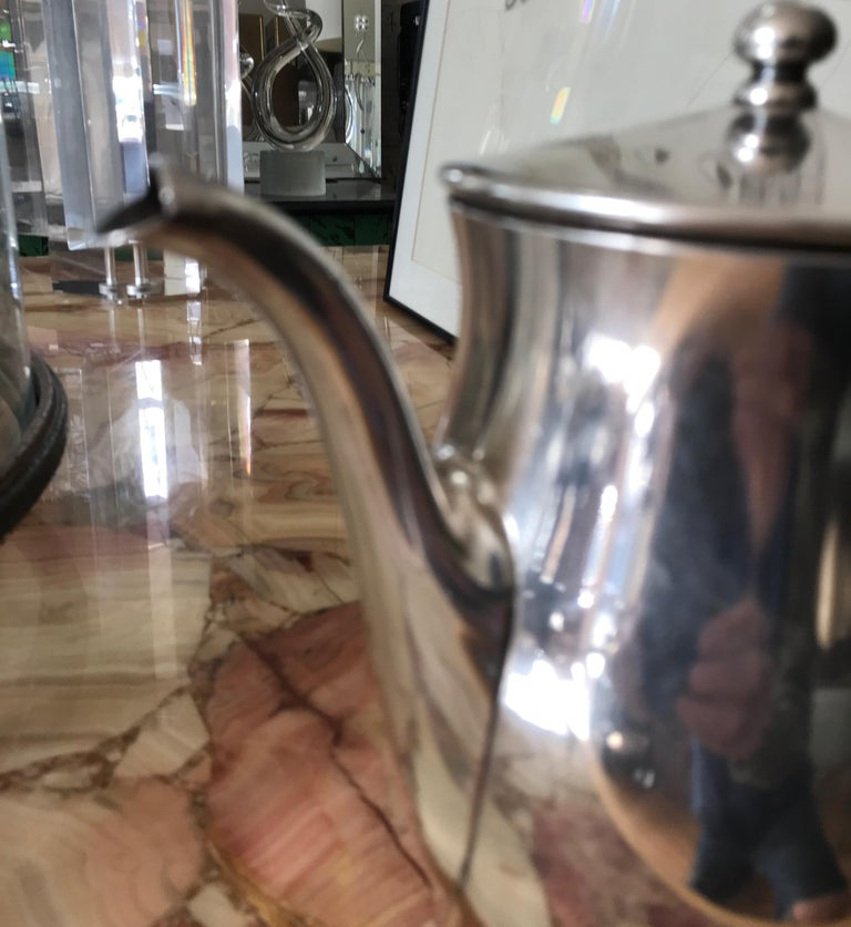 American Midcentury Hotel Silver Coffee Pot For Sale