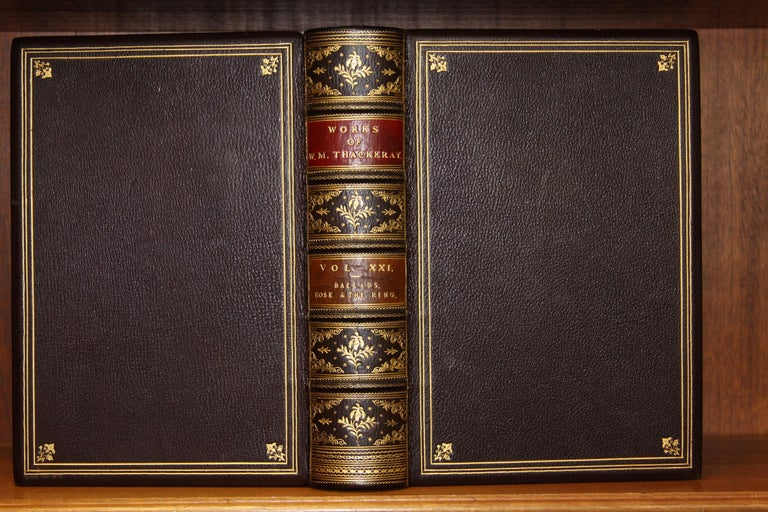 19th Century Books, The Writings of William Makepeace Thackeray, Antiques Leather-Bound Set For Sale