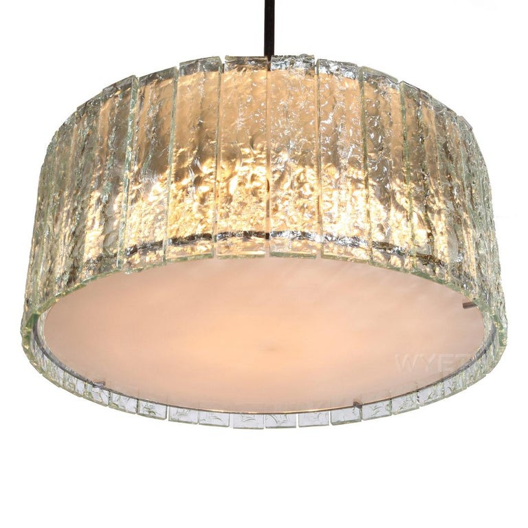 Italian Extraordinary Glass Ceiling Fixture/Chandelier by Max Ingrand for Fontana Arte For Sale