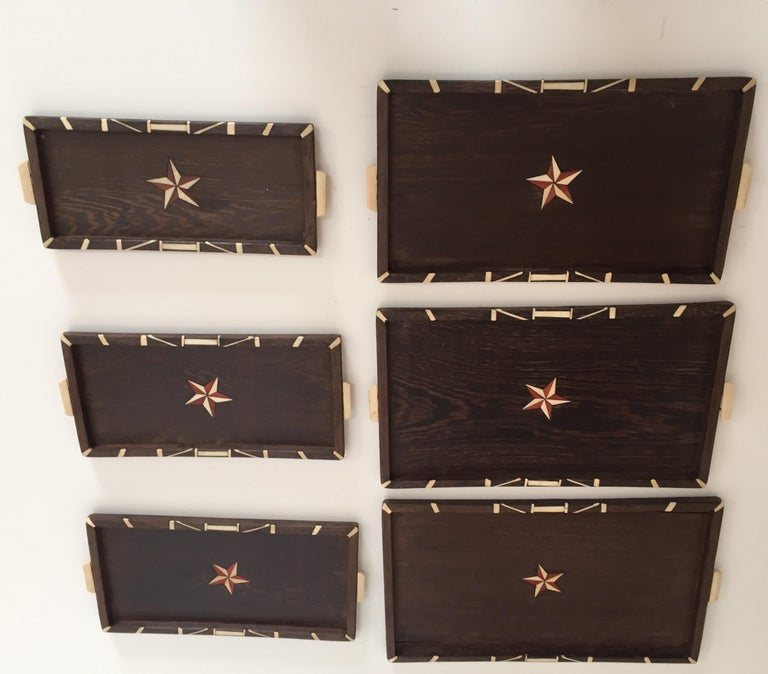Antique Anglo-Indian set of Six Staking Wood Trays with Bone Inlays In Good Condition For Sale In North Hollywood, CA