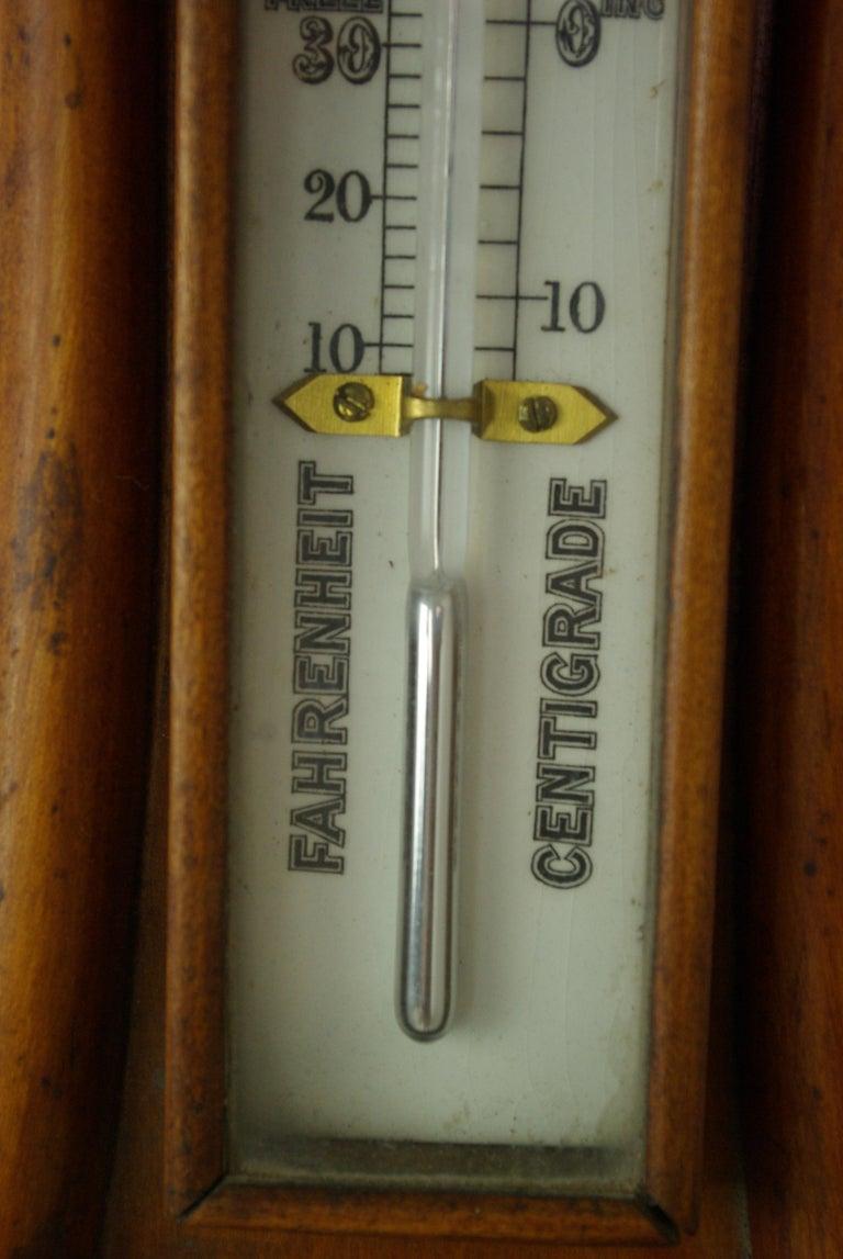 Hand-Crafted Antique Barometer, Aneroid Barometer, Decorative Barometer, Carved Walnut, B1282 For Sale