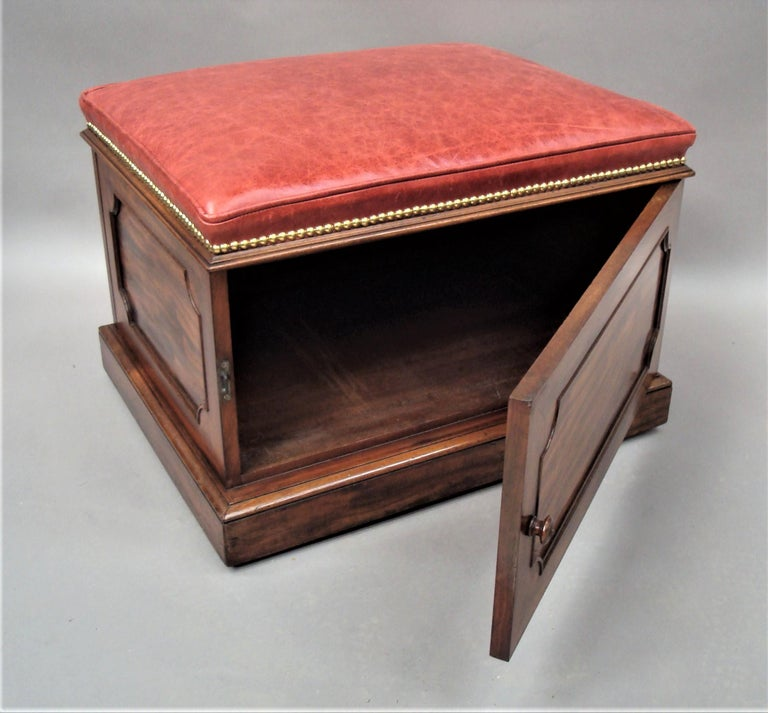 Dyed William IV Mahogany and Leather Box Stool For Sale