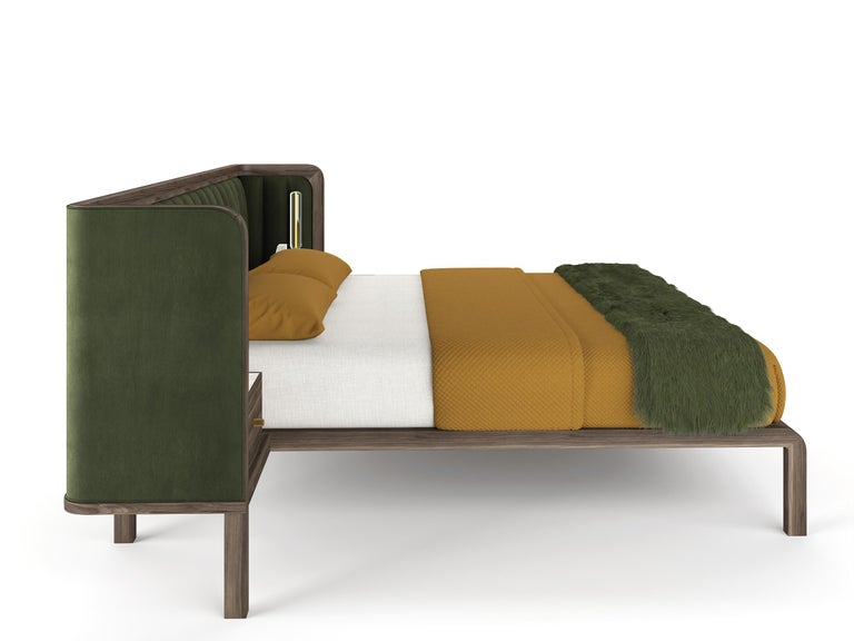 Cupid Bed in Black American Walnut & Velvet with Integrated Bedside Table For Sale 3