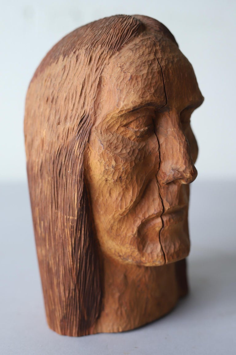 20th Century Hand Carved Wood Head For Sale