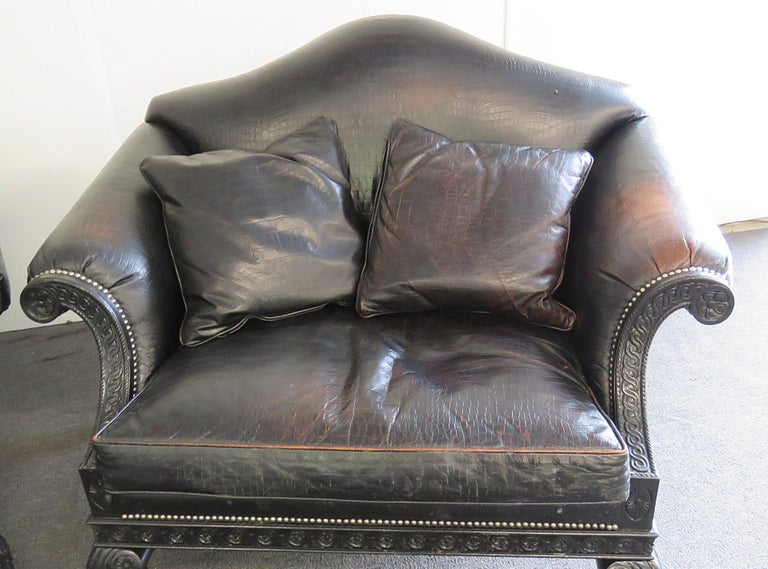 Ebonized Pair of Stanford Rams Head Oversized Leather Armchairs For Sale