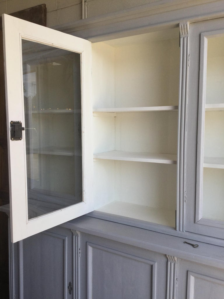 19th Century Antique Euro Grey Hutch For Sale