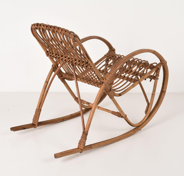Rattan 1950s Children's Rocking Chair, Franco Albini, Bamboo, Italy, 1950s In Fair Condition For Sale In Roma, IT