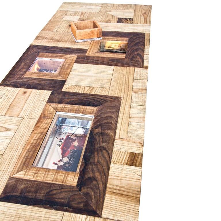 Upside down Konsole mit Mischwälder, Acryl und fotografische Drucke 5