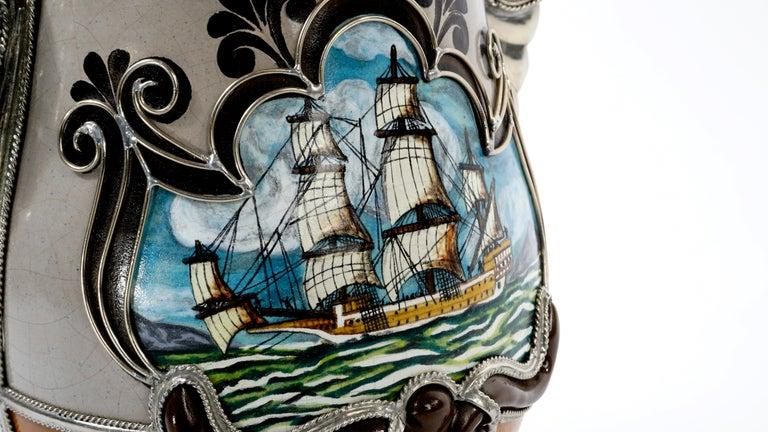 Glazed Handmade Galleon Jar, Ceramic and White Metal 'Alpaca', One of a Kind For Sale