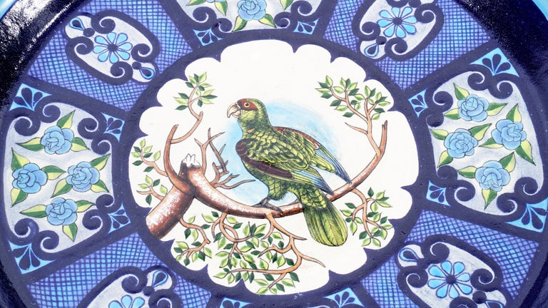 Glazed Ceramic and White Metal 'Alpaca' Toucans and Parrot Set of Plates For Sale