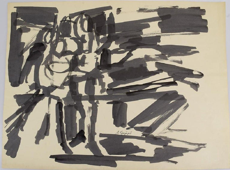 Abstract Action Painting, Black & White Pen & Ink on paper by Salvatore Grippi In Good Condition For Sale In Brooklyn, NY