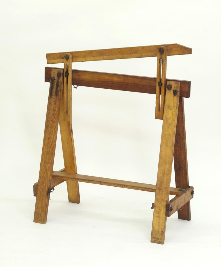 Pair of Adjustable Sawhorses, circa 1920 In Good Condition For Sale In St. Louis, MO