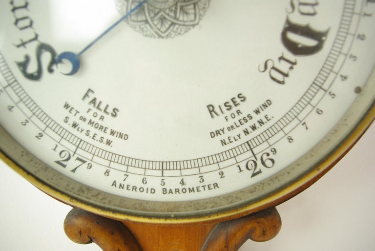 Antique Barometer, Aneroid Barometer, Decorative Barometer, Carved Walnut, B1282 In Good Condition For Sale In Vancouver, BC
