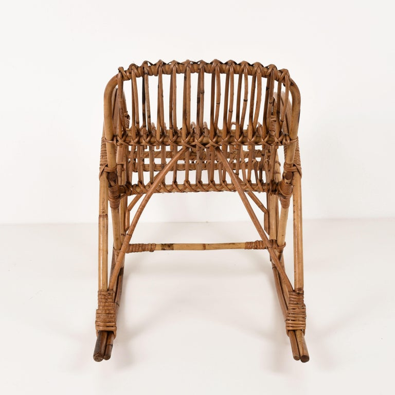 20th Century Rattan 1950s Children's Rocking Chair, Franco Albini, Bamboo, Italy, 1950s For Sale