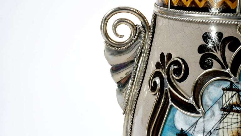 Handmade Galleon Jar, Ceramic and White Metal 'Alpaca', One of a Kind In New Condition For Sale In Guadalajara, Jalisco