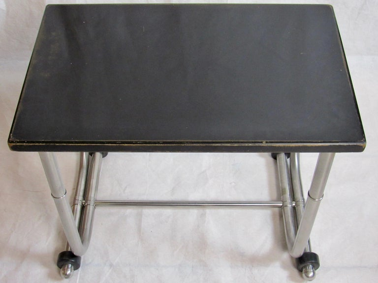 Unique Side Table Warren McArthur Stainless Steel Frame, 1934-1935 In Good Condition For Sale In Camden, ME