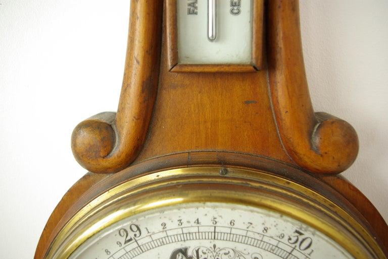 Late 19th Century Antique Barometer, Aneroid Barometer, Decorative Barometer, Carved Walnut, B1282 For Sale